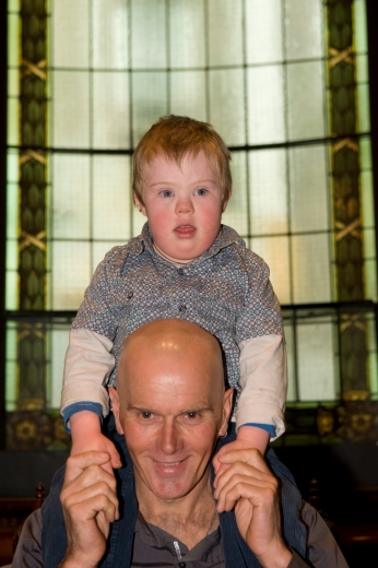 2010 Victorian Father of the Year Chris Berry with five-year-old Daniel, who has Down syndrome.