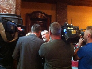 2013 recipient Kevin Kurrle speaks to news crews following the announcement.