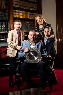 Father of the Year recipient Terry Mitropoulos and family at the 2016 YMCA Father of the Year announcement. Photograph by Chris Hopkins